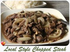 Local style chopped steak recipe. Delicious and easy to make. Get more Hawaiian and island style recipes here.