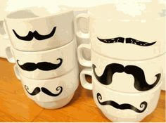 Mustache Mugs: The Only Kind of Facial Hair that Gets My Approval Cool Mustaches, Moustaches, Coffee Shop, Coffee Mugs, Coffee Talk, Food Cart Design, Mustache Styles, Dollar Tree Crafts, Gadgets And Gizmos