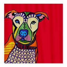 Heather Galler Pitbull Dog Shower Curtain