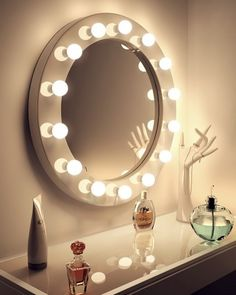 NEW Wall Mounted Hollywood Mirrors Launching next week with HOS ! Hollywood Vanity Mirror, Mirror With Led Lights, Bedroom Decor, Bulb, Makeup Salon, Interface Design, Emerson, House, High Gloss
