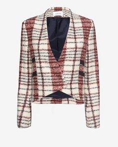 Derek Lam 10 Crosby EXCLUSIVE Cropped Plaid Jacket: Preppy in plaid has us all psyched for Fall. Cropped silhouette. Shoe lace self ties. Double snap buttons at uneven hemline. Lined. In red/white. Fabric: 25% virgin wool/22% acrylic/15% mohair/12% polyamide/11% polyester Lining: 100% bemberg Made in ...