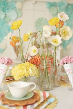 cute table setting with flowers