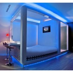 Modern Futuristic Bedroom Decorating Ideas with LED Lighting... ❤ liked on Polyvore featuring home, home decor, bedroom, futuristic, homes, room, modern home accessories, modern home decor and mod home decor