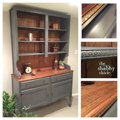 Beautiful vintage dresser painted in a graphite grey chalk paint from Murobond. Hand painted by the shabby chick.