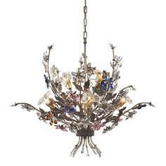 Featuring stunning multicolored crystal florets, this Elk Brillare 6-light Chandelier will add a beautiful sense of light to your home. Crafted of metal and crystal, this chandelier will enhance your