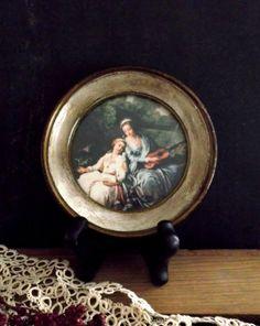 Vintage Florentine Framed Art Small Round by happenstanceNwhimsy