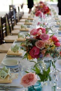Vibrant Floral Centerpieces, Wedding Flowers Photos by Yoj Events