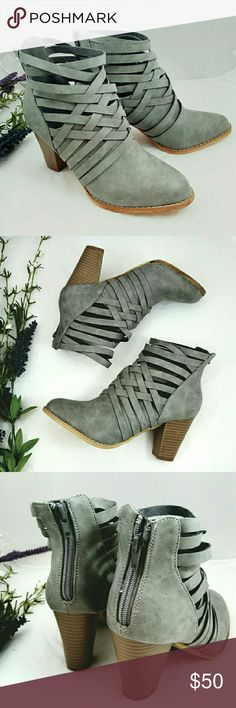 """Gorgeous Concrete Gray Basket Weave Bootie Chic basket weave ankle bootie that will complement all the styles this season!   Basket weave detailing up to the ankle Distressed look Faux suede leather 3.5"""" Stacked block heel Concrete Gray Zipper back  ***PRICE IS FIRM, NO OFFERS ***  Sizes available in 5.5,  6,  6.5 Boutique  Shoes Ankle Boots & Booties"""