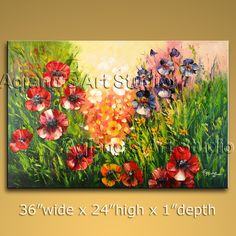 Gorgeous Palette Knife wall art Poppy Flowers oil painting on canvas. This painting has been stretched on wooden bar and custom framed by a specialist re Large Abstract Wall Art, Floral Wall Art, Large Wall Art, Canvas Wall Art, Modern Art Paintings, Abstract Paintings, Abstract Painting Techniques, Beginner Art, Flower Artwork