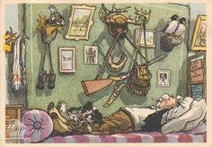 Открытка Прикольные открытки, Поздравление охотнику. Заслуженный охотник, Семенов И., 1960 г.