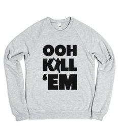 Ooh Kill Em'-Unisex Heather Grey Sweatshirt