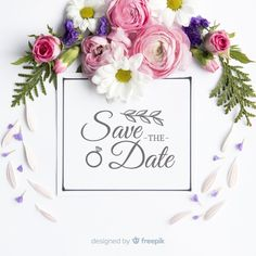 Save the date lettering with photo Free Vector Wedding Menu Template, Wedding Invitation Card Template, Floral Wedding Invitations, Vintage Wedding Cards, Wedding Paper, Pink And White Background, Invitation Mockup, Floral Banners, Wedding Logos