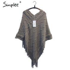 Simplee batwing sleeve tassel hem knitting cloak sweater 2015 women fall fashion tricot cape poncho Autumn winter jumper
