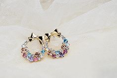 Free Shipping $10 (mix order) New Fashion Imitation Diamond Colorful Rhinestone Bow Earrings E41 Vintage Jewelry-inStud Earrings from Jewelry on Aliexpress.com | Alibaba Group