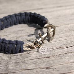 Nautical suede anchor bracelet  the Rockland by byMarisSal on Etsy, $26.00