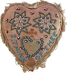 Heart shaped of high rounded form to be used as a pin cushion, though most in fact were simply displayed. Pink satin face and red felt back, the seam with cotton fring History Of Textile, Vintage Sewing Notions, Red Felt, Sewing Pillows, Vintage Heart, Sewing Accessories, Small Heart, How To Make Pillows, Heart Art