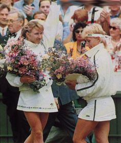 This Day In Tennis History: July 2,1988 - On her way to a Grand Slam, Steffi Graf defeated Martina Navratilova to win the women's singles title at Wimbledon and break Navratilova's six-year winning streak.   keepinitrealsports.tumblr.com  keepinitrealsports.wordpress.com  facebook.com/pages/KeepinitRealSports/250933458354216  Mobile- m.keepinitrealsports.com