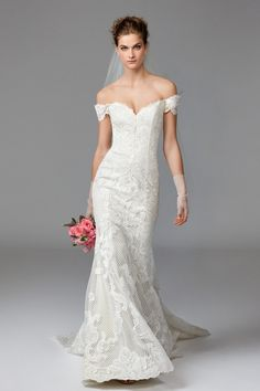 Find your perfect wedding dress for less. Designer bridal gowns sold off the rack for a discounted price. Bridal salon located in Atlanta, GA. Weird Wedding Dress, Off Shoulder Wedding Dress, Fit And Flare Wedding Dress, Gorgeous Wedding Dress, Beautiful Dresses, Designer Wedding Dresses, Bridal Dresses, Wedding Attire, Wedding Gowns