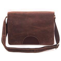 Image of Vintage Handmade Genuine Crazy Horse Leather Messenger Satchel  iPad Bag in Brown (n50 3645fcb14a