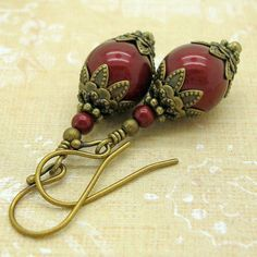 Drop Earrings, Wine Red Swarovski Pearl Earrings, Deep Red Vintage Looking, Neo Victorian Jewelry, Bordeaux Pearl Earrings