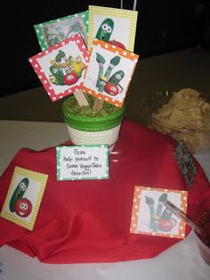 Veggie Tales Party - Favor Buckets in Green or Red