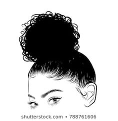 Hand-drawn black woman with curly luxurious hair.Girl with perfectly shaped eyebrows and full lashes. Idea for business visit card, typography vector.Perfect salon look. - Buy this stock vector and explore similar vectors at Adobe Stock Black Girl Curly Hairstyles, Cute Bun Hairstyles, Black Curly Hair, Curly Hair Styles, Fall Hairstyles, Girl Hair Drawing, Woman Drawing, Perfect Red Lips, Perfect Eyebrows