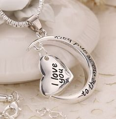 b01 silver pandant necklace (I Love You to the Moon And Back) ,only $3.99  shop at www.costwe.com