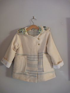 upcycled clothing, childrens reindeer coat in cream and blue stripe wool size 4. $65.00, via Etsy.