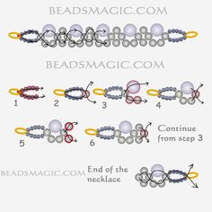 Free pattern forbeaded necklace Gatsby U need: pearls 4 mm and 6 mm or pearls