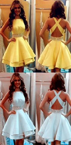 Short Homecoming Dresses Yellow A Line Open Back Modest For