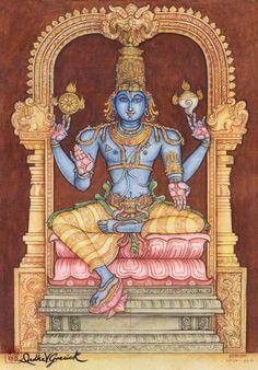 Padmasana Vishnu - by Drdha Vrata Gorrick Mysore Painting, Kerala Mural Painting, Tanjore Painting, Lord Ganesha Paintings, Krishna Painting, Krishna Art, Hare Krishna, Indian Traditional Paintings, Indian Art Paintings