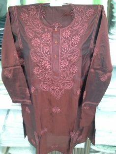 50 gm Silk Lucknowi Chikan Kurta [*Sfq*]