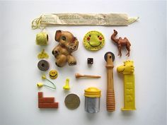 Instant Collection Cheery Yellow - Shadowbox Objects - Vintage Found Objects.