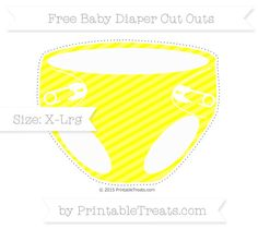 Yellow Diagonal Striped  Extra Large Baby Diaper Cut Outs