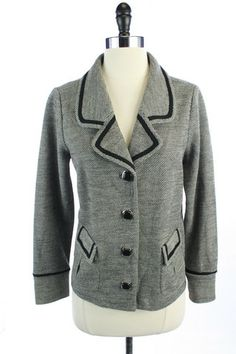 Recycle Your Fashions CLASSIQUES ENTIER Black WOOL Blend TWEED BLAZER Suit JACKET Top MP MEDIUM PETITE