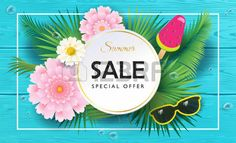 Tropical Summer Sale background Exotic beautiful flowers ice cream watermelon sunglasses turquoise w Stock Vector