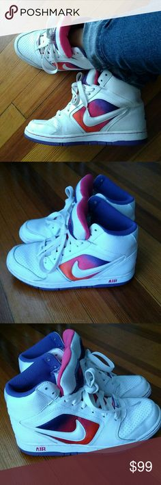 Nike high tops ombre pink purple orange white, 7.5 Unbelievable find. I adore these, you can see why. I may have the box but I gotta look. Nike Shoes