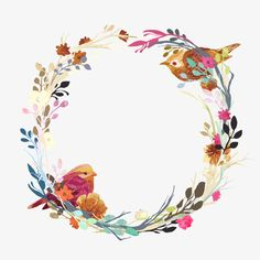 Floral Wreath With Birds Vintage Flowers Wallpaper, Flower Background Wallpaper, Flower Backgrounds, Flower Vintage, Vector Background, Vintage Floral, Frame Floral, Flower Frame, Wreath Watercolor