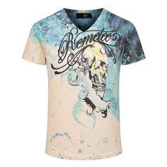 3D Printing Summer Skull Printed Shirt Tide Mens V-neck Blue White T-shirts. Description:  Material: Cotton Blending Color: Blue Occasion:  Casual Season:  Summer Product Notes:  Details in size:  US Size S M L XL Asian Size L XL XXL XXXL Shoulder 39CM(15.35') 43CM(16.93') 45CM(17.72') 47CM(18.50') Chest 100CM(39.37') 103CM(40.55') 108CM(42.52') 112CM(44.09') Sleeve Length 19CM(7.48') 19CM(7.48') 19CM(7.48') 20CM(7.87') Length 67CM(26.38') 69CM(27.17') 71CM(27.95') 73CM(28.74') Attention…