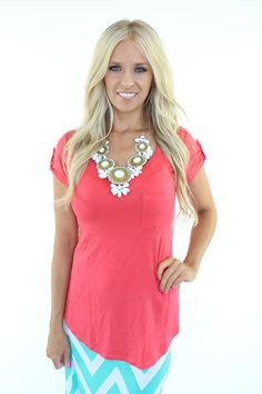 Lime Lush Boutique - Coral Pocket Top, $26.99 (http://www.limelush.com/coral-pocket-top/)
