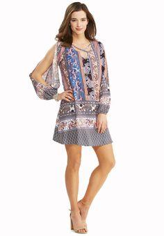Bordered Paisley Shift Dress-Plus Dresses Cato Fashions