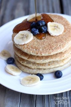Healthy Oatmeal Protein Pancakes are good for you and actually taste like delicious pancakes! Recipe on TastesBetterFromScratch.com
