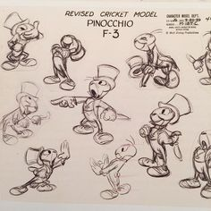 I really love looking at model sheets. Check out these great Jiminy Cricket poses.