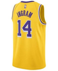 9d56b39a5481 Nike Men s Brandon Ingram Los Angeles Lakers Icon Swingman Jersey - Yellow S