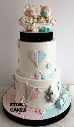 28 Ideas For Baby Shower Twins Cupcakes Gender Reveal - Fondant Deko, Torta Baby Shower, Twin Baby Shower Cake, Baby Shower Cookies, Shower Cakes, Baby Shower Twins, Cupcakes, Cupcake Cakes, Twins Cake, Birthday Cake For Twins