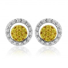 Rudells 18ct White Gold Yellow Sapphire and Diamond Earrings - Small Image