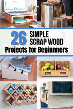 This is a great collection of easy DIY scrap wood project ideas perfect for beginner woodworkers! Get lots of plans and video tutorials! #anikasdiylife #woodworking Easy Small Wood Projects, Wood Projects For Beginners, Scrap Wood Projects, Wood Working For Beginners, Furniture Projects, Diy Furniture, Kreg Jig Projects, Woodworking Projects That Sell, Woodworking Ideas