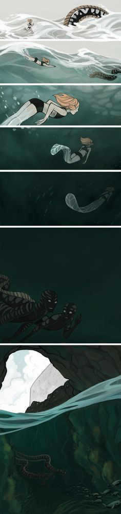 Ocean adventure cont by *MobilePants on deviantART Awesome. Comics Story, Bd Comics, Cute Comics, Image Triste, Illustrations, Illustration Art, Rage Comic, Storyboard, Manga