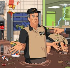 Embedded image Jeremy Clarkson loses his job at McDonald's. Art by Jim'll Paint It.