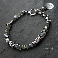 oxidized sterling silver and labradorite - bracelet by studioformood on Etsy https://www.etsy.com/listing/251793815/oxidized-sterling-silver-and-labradorite